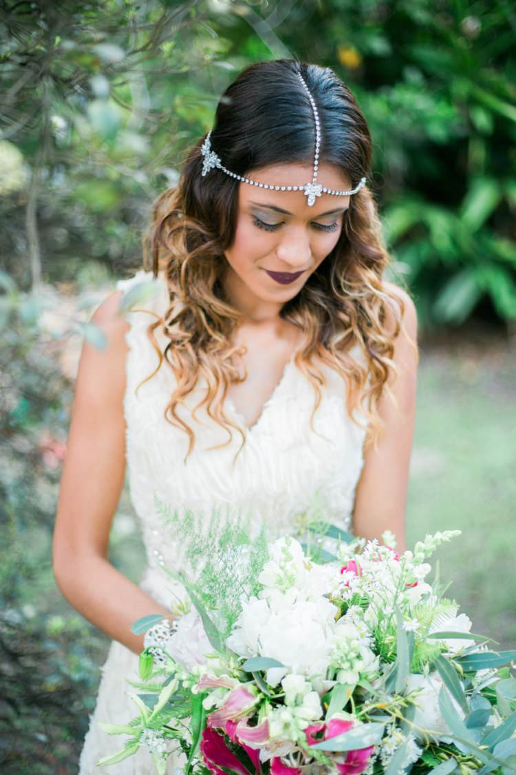 Boho Bohemian Forehead Headdress Accessory Bride Bridal Quirky Vintage Kiss Wedding Ideas http://www.sarahheartsphotography.com/