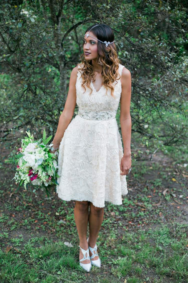 Short Dress Bride Bridal Gown Quirky Vintage Kiss Wedding Ideas http://www.sarahheartsphotography.com/
