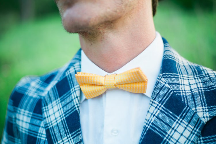 Yellow Bow Tie Groom Quirky Vintage Kiss Wedding Ideas http://www.sarahheartsphotography.com/