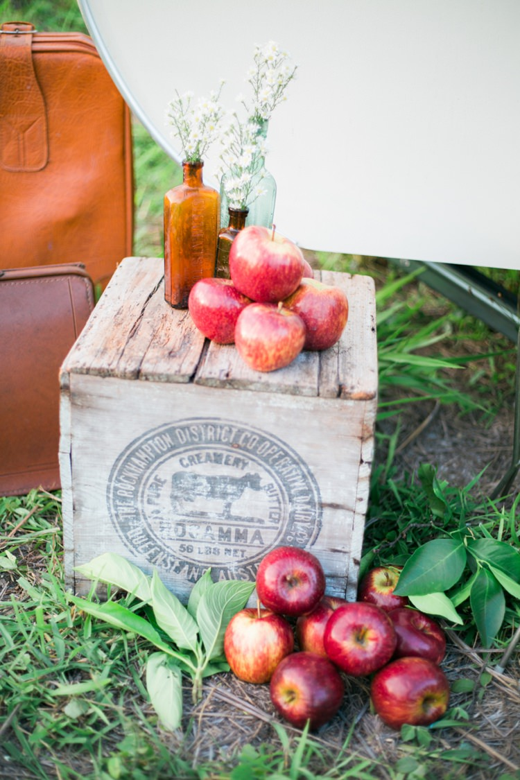 Apples Crates Bottle Flowers Decor Quirky Vintage Kiss Wedding Ideas http://www.sarahheartsphotography.com/