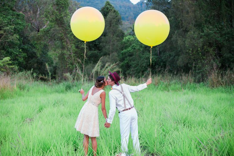Balloons Bride Groom Yellow Quirky Vintage Kiss Wedding Ideas http://www.sarahheartsphotography.com/