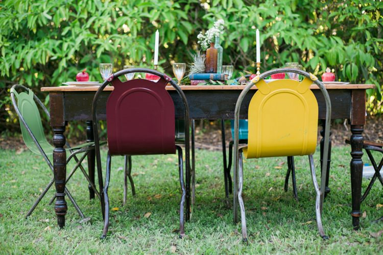Colourful Industrial Chairs Quirky Vintage Kiss Wedding Ideas http://www.sarahheartsphotography.com/