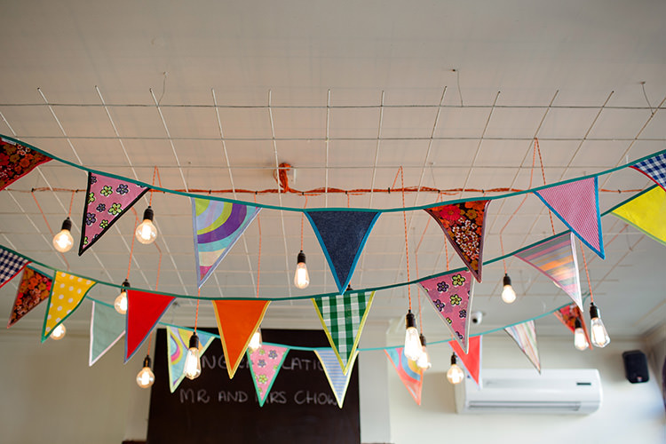 Colourful Festoon Lights Wedding Bunting Ideas Decor Decoration http://www.ireneyapweddings.com/