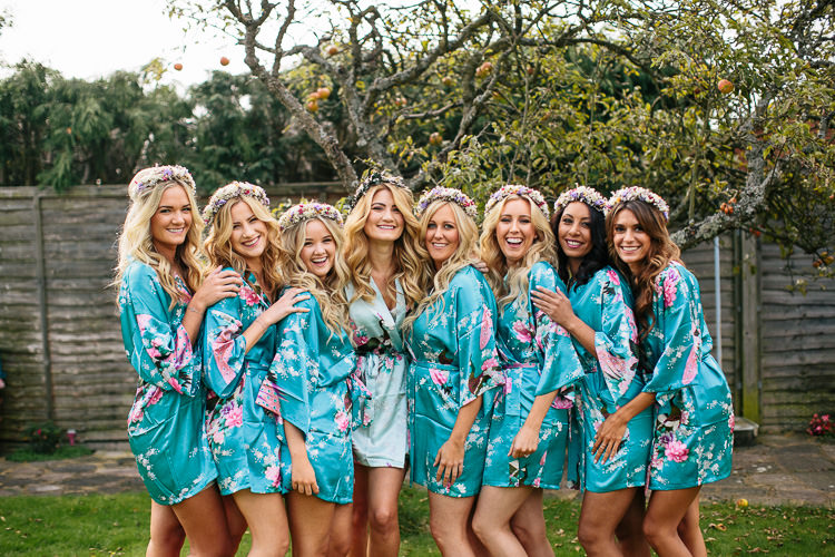 Bride Bridesmaids Dressing Gowns Bohemian Floral Vineyard Wedding http://albertpalmerphotography.com/