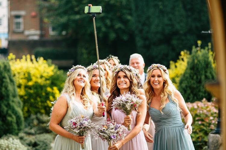 Bride Bridesmaid Selfie Bohemian Floral Vineyard Wedding http://albertpalmerphotography.com/