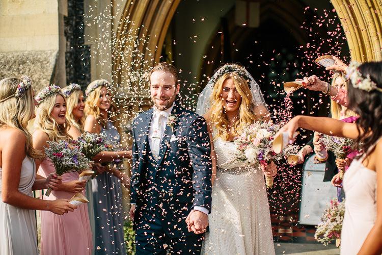 Confetti Throw Bride Groom Bohemian Floral Vineyard Wedding http://albertpalmerphotography.com/
