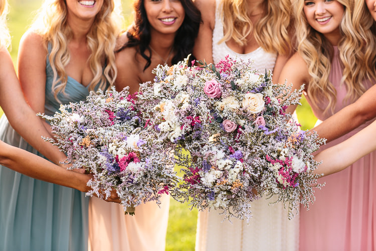 Dried Flowers Bouquets Bride Bridesmaids Pastel Bohemian Floral Vineyard Wedding http://albertpalmerphotography.com/