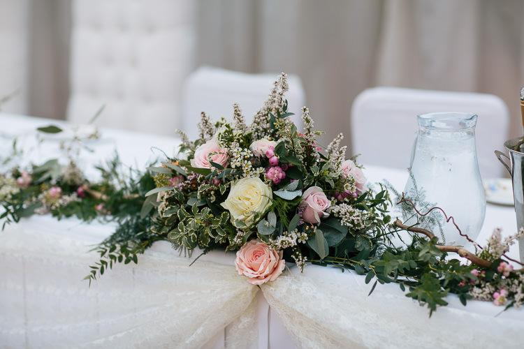 Top Table Flower Arrangement Bohemian Floral Vineyard Wedding http://albertpalmerphotography.com/