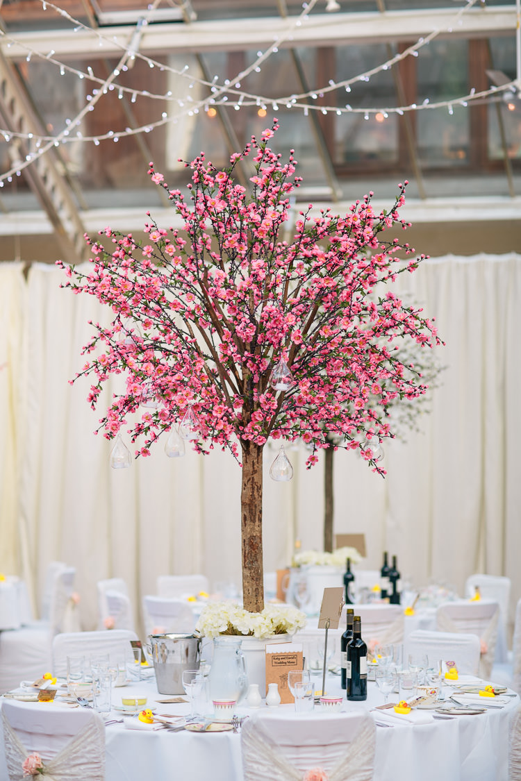Pink Cherry Blossom Tree Tables Decor Centrepiece Bohemian Floral Vineyard Wedding http://albertpalmerphotography.com/