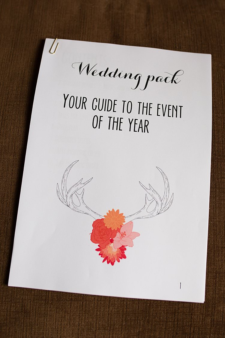 Antler Floral Stationery Order of Day Bright Fresh Mexican Inspired Wedding http://www.photographybykatie.co.uk/