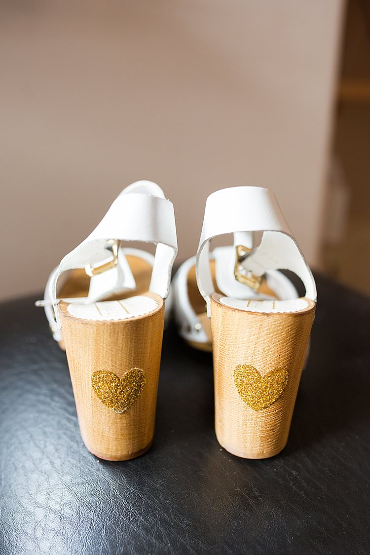 Clogs Shoes Bride Bridal Heels Heart Glitter Gold Bright Fresh Mexican Inspired Wedding http://www.photographybykatie.co.uk/