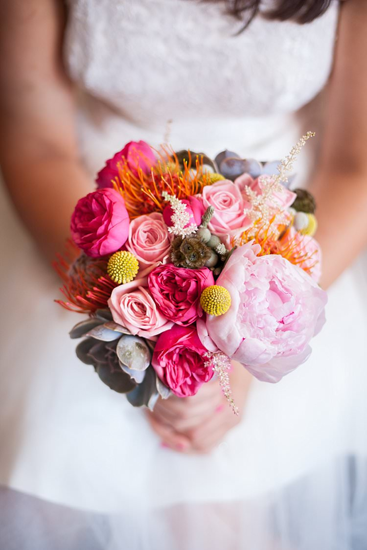 Pink Yellow Flowers Bouquet Bride Bridal Peony Billy Balls Bright Fresh Mexican Inspired Wedding http://www.photographybykatie.co.uk/