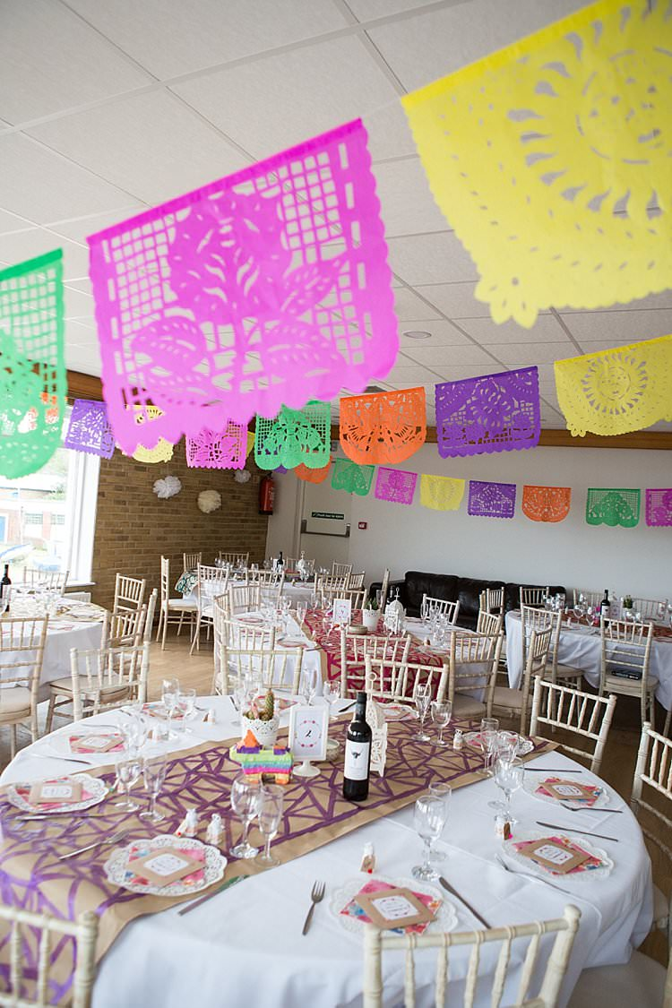 Flag Bunting Decor Bright Fresh Mexican Inspired Wedding http://www.photographybykatie.co.uk/