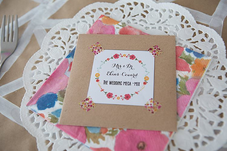 CD Music Favours Bright Fresh Mexican Inspired Wedding http://www.photographybykatie.co.uk/