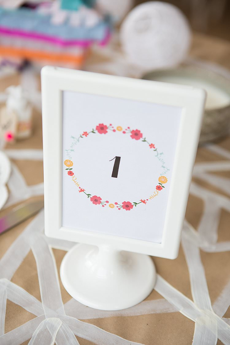 Floral Table Numer Frames Bright Fresh Mexican Inspired Wedding http://www.photographybykatie.co.uk/