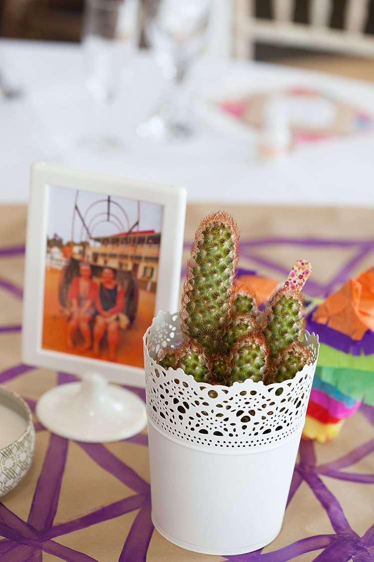 Cacti Table Flowers Centrepiece Decor Bright Fresh Mexican Inspired Wedding http://www.photographybykatie.co.uk/