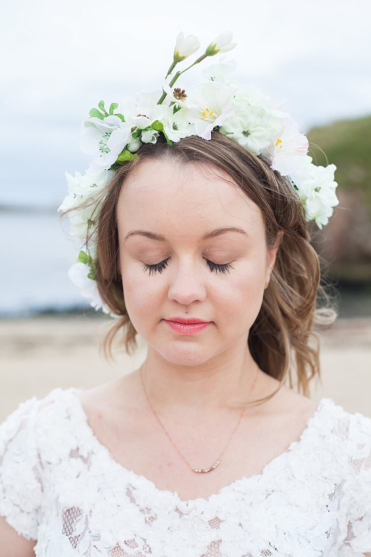 White Flowers Crown Bride Halo Headdress Bright Fresh Mexican Inspired Wedding http://www.photographybykatie.co.uk/
