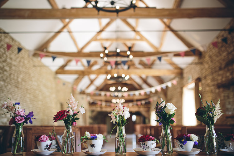 Tea Cup Bottle Flowers Barn Great British Tea Party Wedding http://www.kategrayphotography.com/