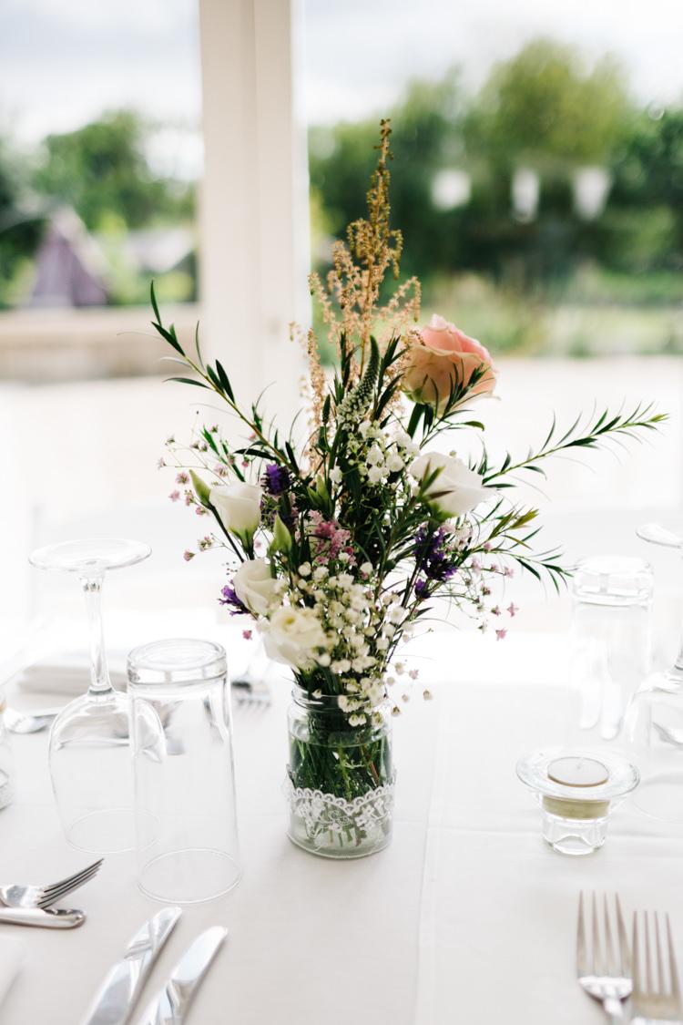 Lace Jar Flowers Centrepiece Relaxed DIY Pastel Wedding http://www.honeyandthemoonphotography.co.uk/