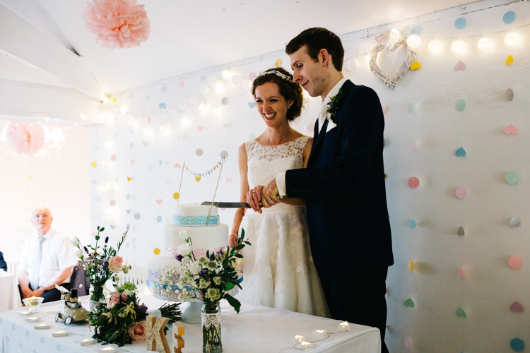 Paper Cut Out Backdrop Relaxed DIY Pastel Wedding http://www.honeyandthemoonphotography.co.uk/