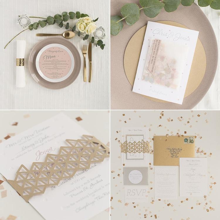 Stationery Blush White Gols Invitation Modern Chic Stylish City Wedding http://photographybymarclawson.com/