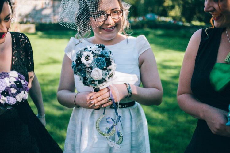Bouquet Bride Bridal Alternative Crafty Rainbow Crochet Wool Wedding http://katherinemager.com/