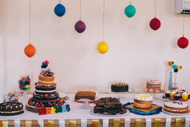 Cake Dessert Table Bake Off Crafty Rainbow Crochet Wool Wedding http://katherinemager.com/