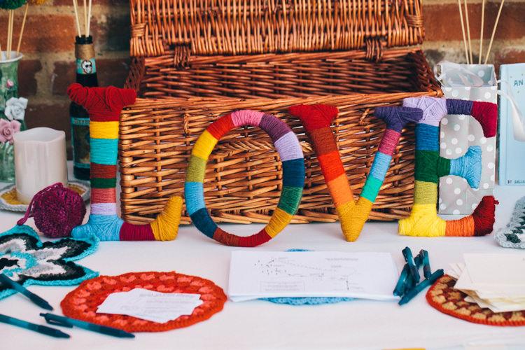Love Sign Crafty Rainbow Crochet Wool Wedding http://katherinemager.com/