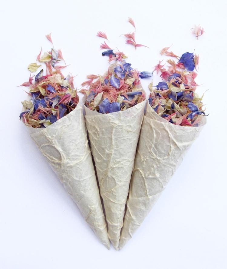 Confetti Cones. Credit- The Real Flower Petal Confetti Company