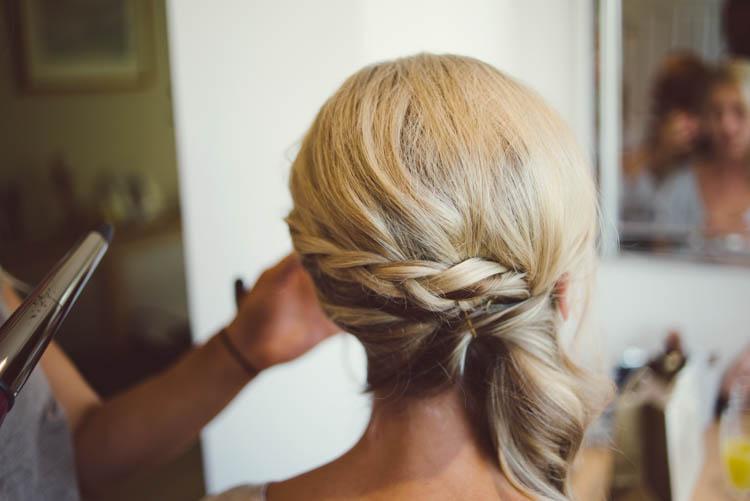 Plait Braid Hair Style Bride Bridal Mint Gold Peach Summer Marquee Wedding http://elizaclaire.com