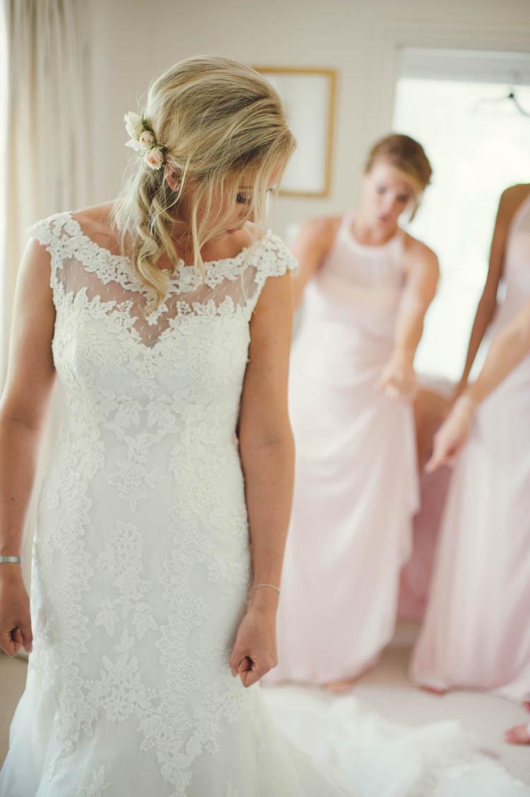 Lace Dress Pronovias Bride Bridal Mint Gold Peach Summer Marquee Wedding http://elizaclaire.com