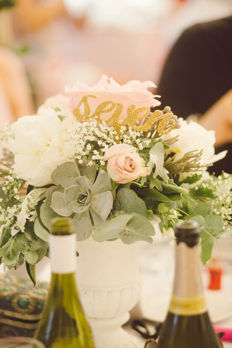 Flowers Glitter Table Number Mint Gold Peach Summer Marquee Wedding http://elizaclaire.com
