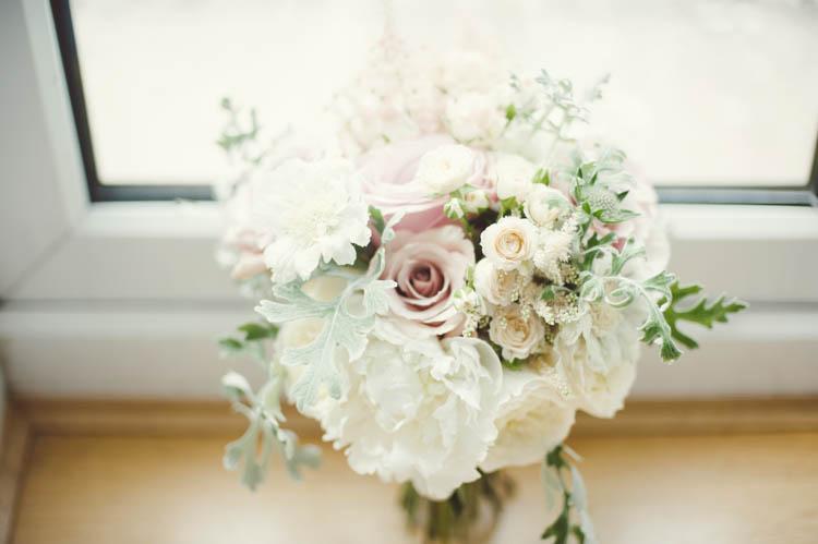 White Peiny Bouquet Rose Bride Bridal Flowers Mint Gold Peach Summer Marquee Wedding http://elizaclaire.com