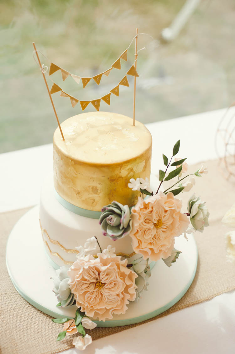 Cake Flowers Bunting Metallic Mint Gold Peach Summer Marquee Wedding http://elizaclaire.com