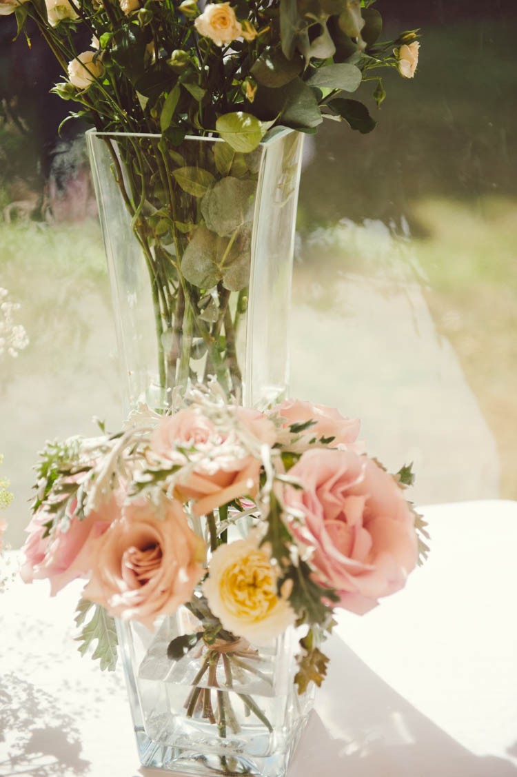 Vase Flowers Mint Gold Peach Summer Marquee Wedding http://elizaclaire.com