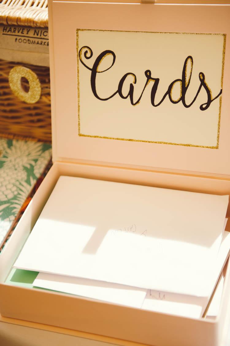 Card Box Mint Gold Peach Summer Marquee Wedding http://elizaclaire.com