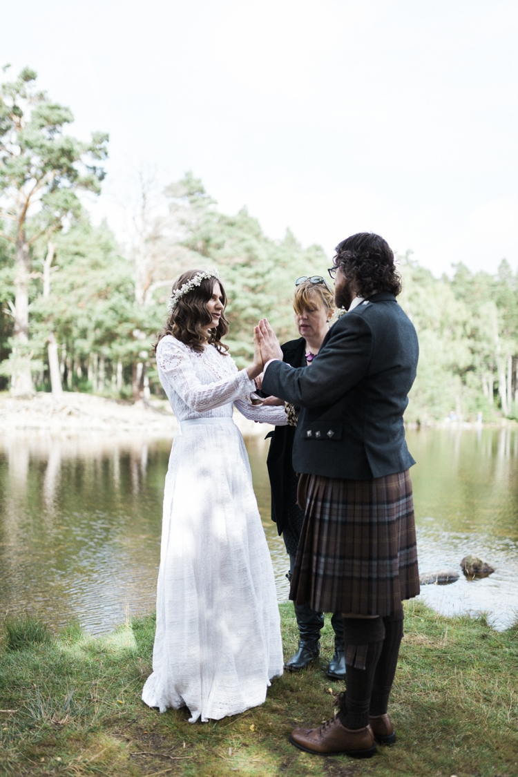 Humanist Handfasting Outdoor Ceremony Bohemian Loch Pine Forest Wedding http://solenphotography.co.uk/