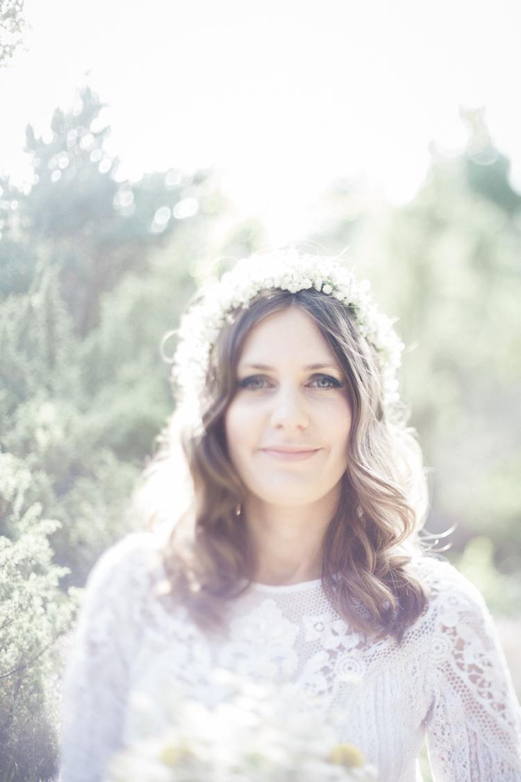 Waves Curls Hair Bride Bridal Flower Crown Baby Breath Gypsophila Bohemian Loch Pine Forest Wedding http://solenphotography.co.uk/