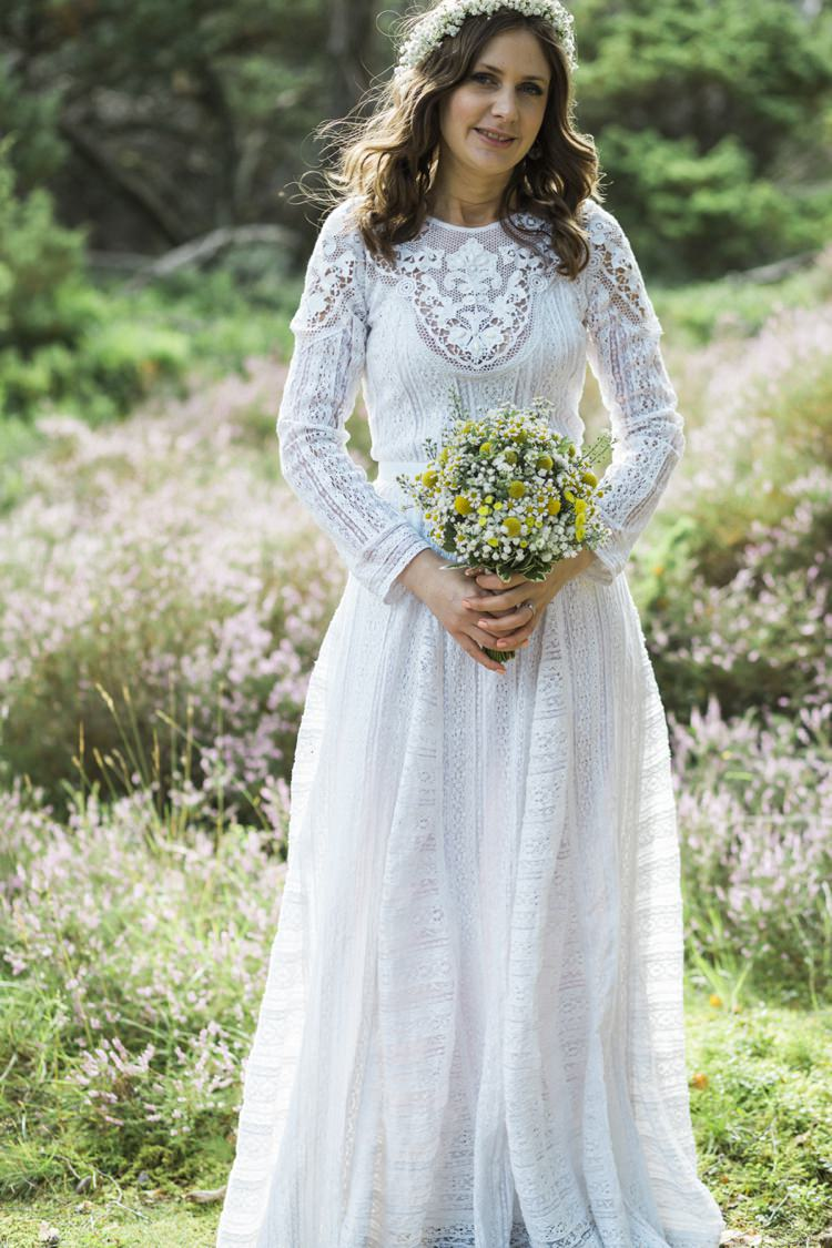 Free People Dress Gown Bride Bridal Sleeves Bohemian Loch Pine Forest Wedding http://solenphotography.co.uk/