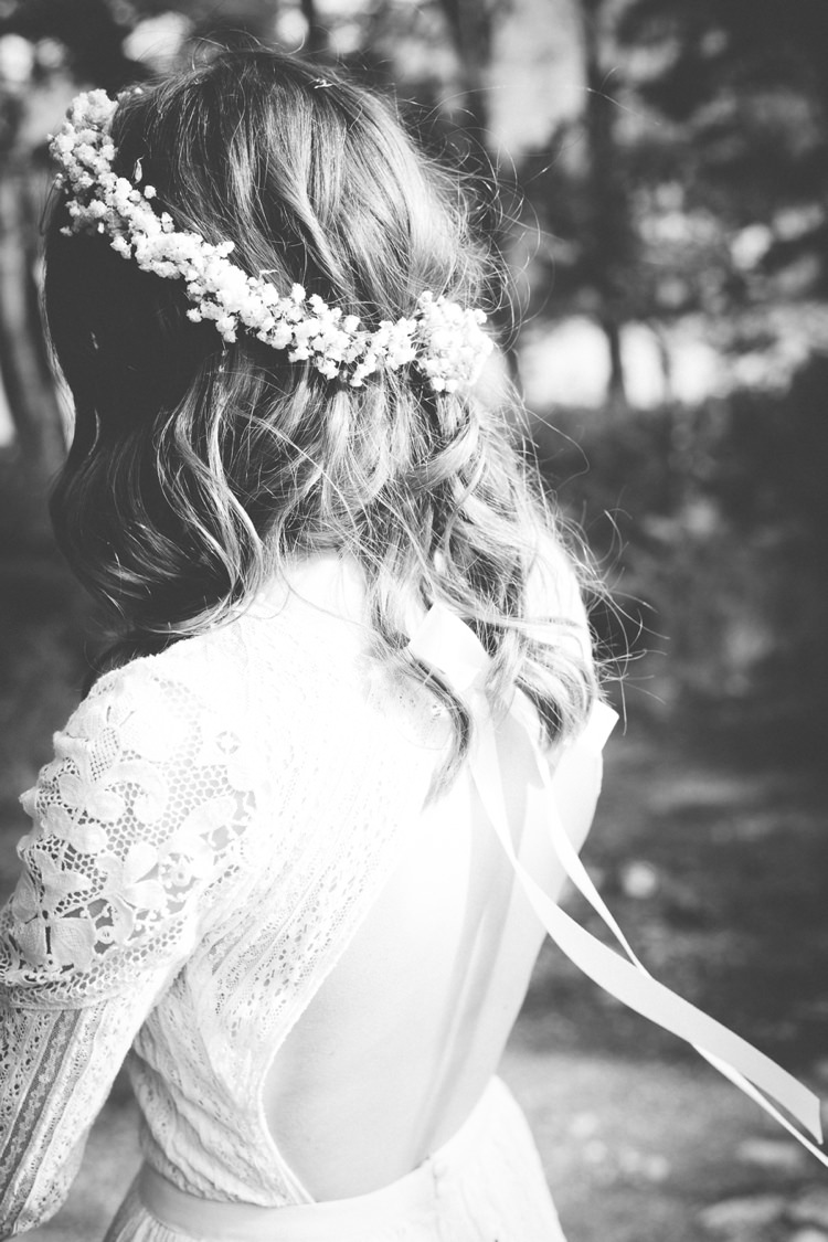 Flower Crown Backless Ribbon Dress Free People Bride Bridal Bohemian Loch Pine Forest Wedding http://solenphotography.co.uk/