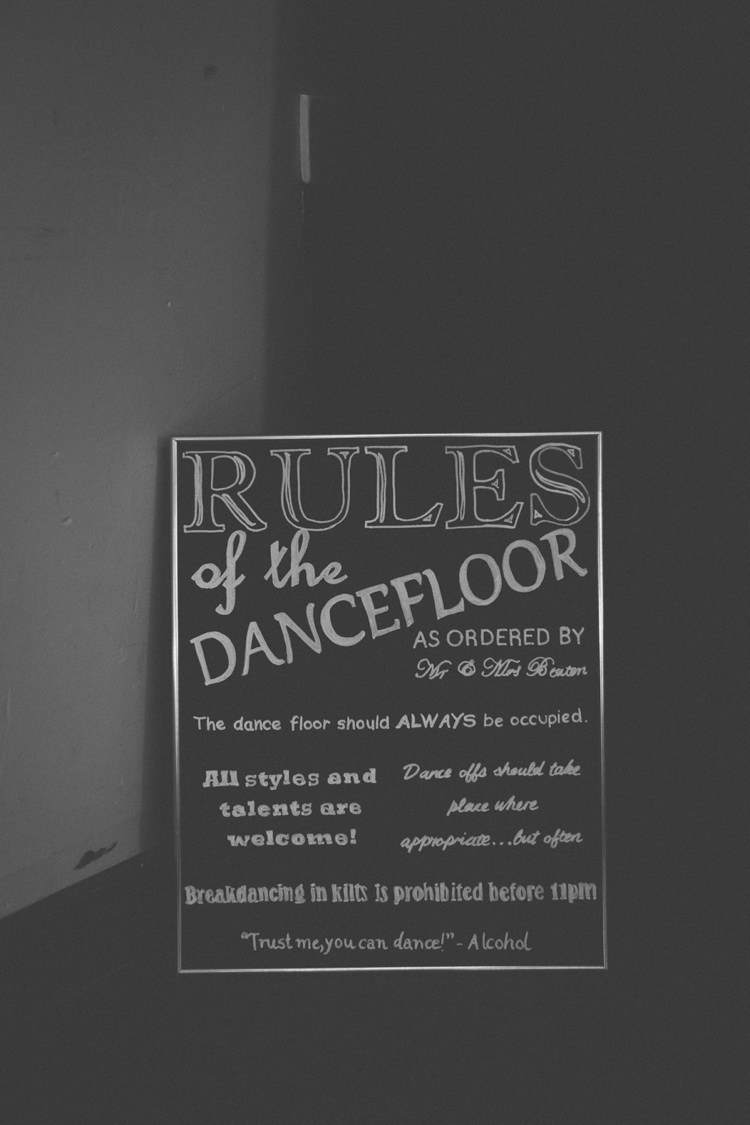 Dancefloor Rules Sign Bohemian Loch Pine Forest Wedding http://solenphotography.co.uk/