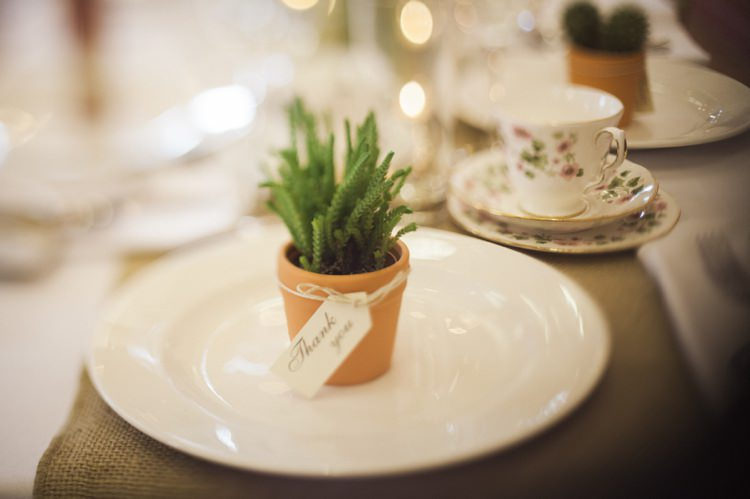 Potted Succulent Favour Bohemian Loch Pine Forest Wedding http://solenphotography.co.uk/