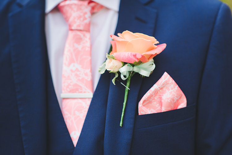 Coral Rose Buttonhole Groom Pretty Pastel Sparkly Wedding https://www.georgimabee.com/