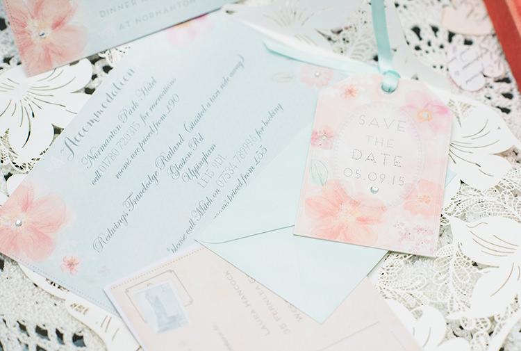 Floral Stationery Invitations Pretty Pastel Sparkly Wedding https://www.georgimabee.com/