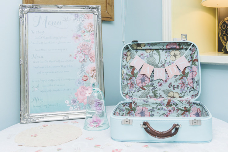 Floral Card Suitcase Stationery Menu Sign Pretty Pastel Sparkly Wedding https://www.georgimabee.com/