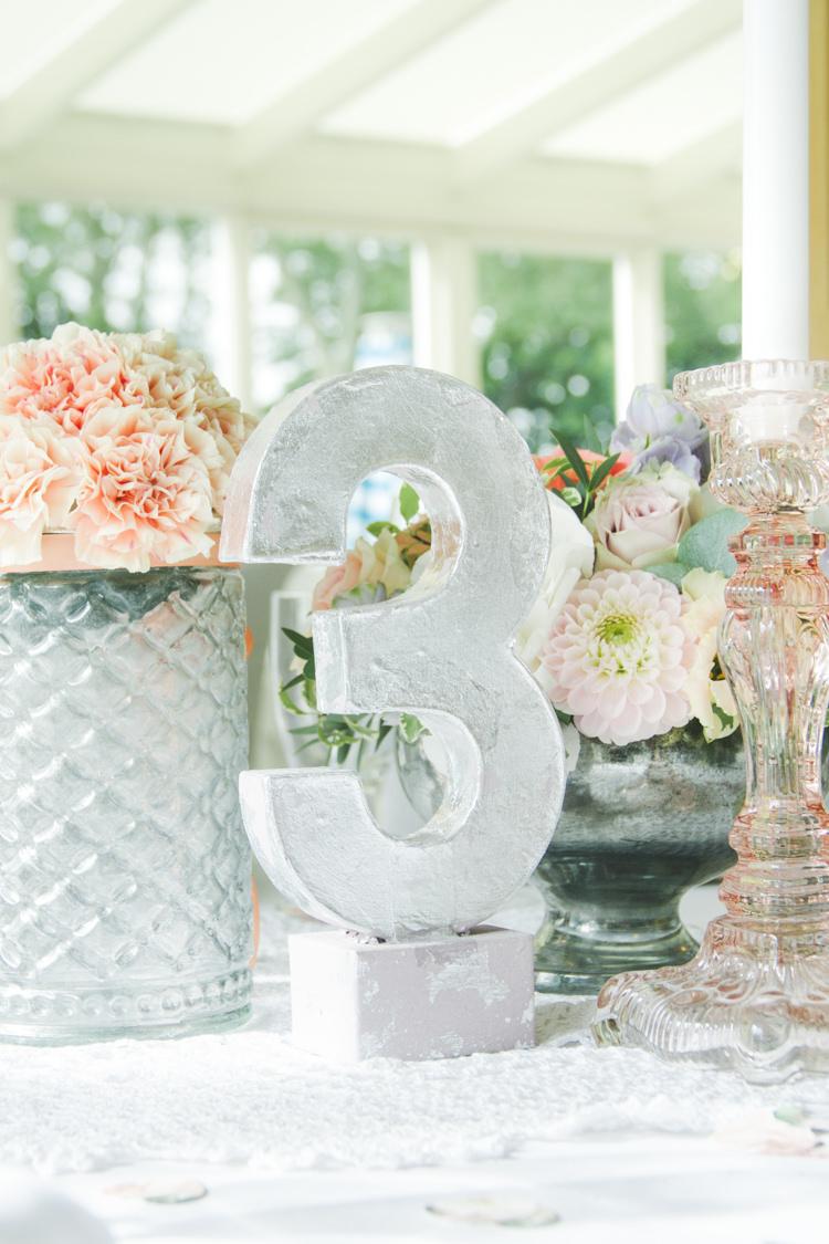 Silver Metallic Table Number Decor Pretty Pastel Sparkly Wedding https://www.georgimabee.com/