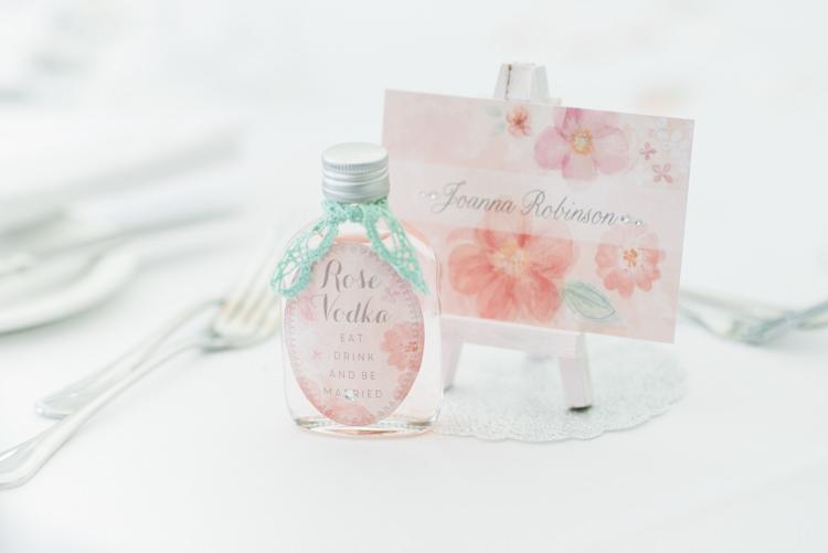 Easel Place Names Floral Vodka Favour Pretty Pastel Sparkly Wedding https://www.georgimabee.com/