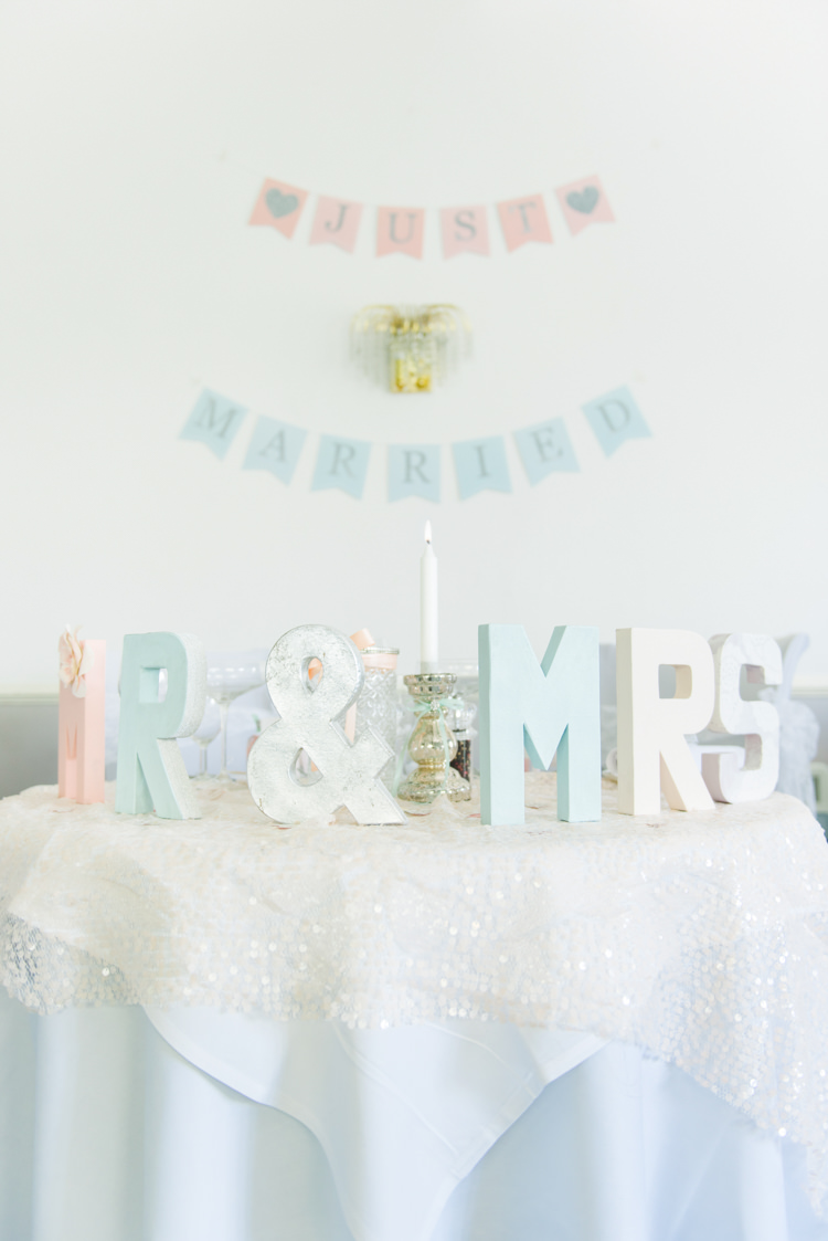 Sweetheart Table Bunting Backdrop Mr Mrs Pretty Pastel Sparkly Wedding https://www.georgimabee.com/