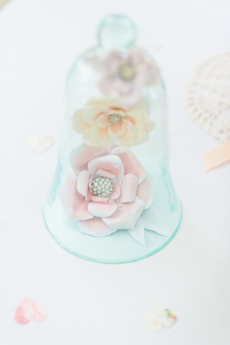 Paper Flowers Bell Jar Decor Pretty Pastel Sparkly Wedding https://www.georgimabee.com/