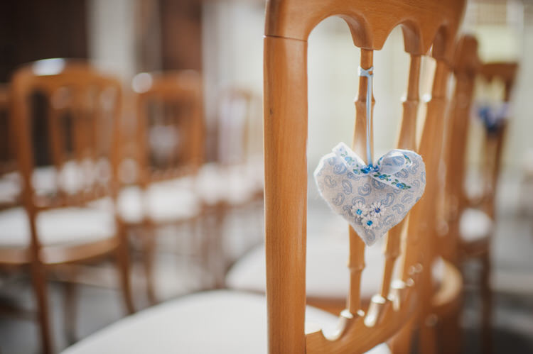Fabric Heart Chair Decor Pretty Blue Country Barn Spring Wedding http://karenflowerphotography.com/